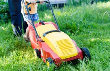 Ein akkubetriebener Rasenmäher im Garten